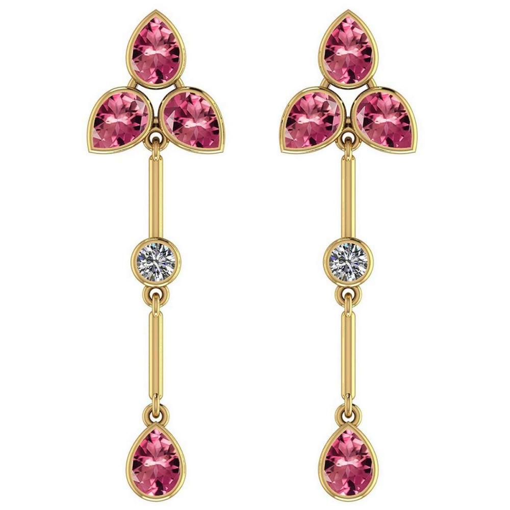 Certified 3.00 Ctw Pink Tourmaline And Diamond VS/SI1 18K Yellow Gold Dangling Earrings #IRS27242