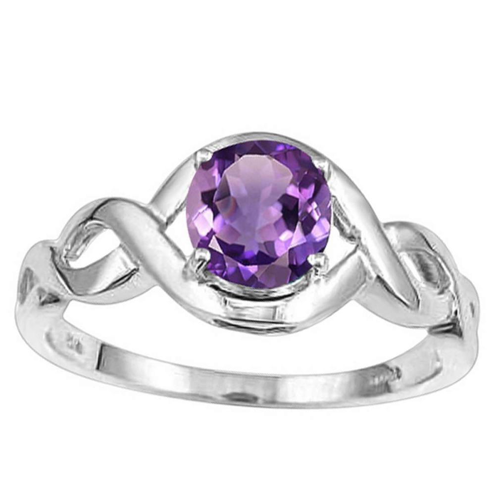 1.03 CT AMETHYST 10KT SOLID WHITE GOLD RING #IRS93898