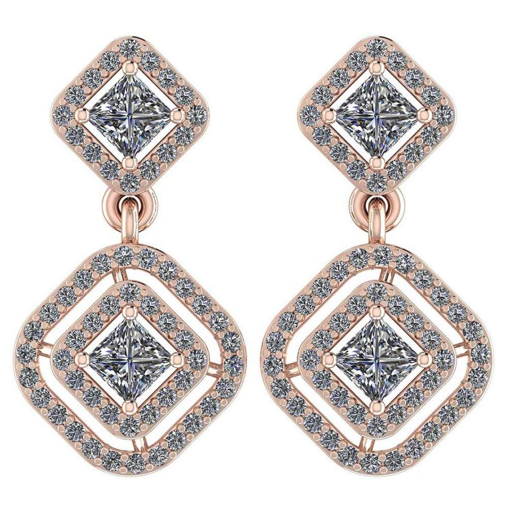 Certified 1.30 Ctw Diamond VS/SI1 18K Rose Gold Hanging Stud Earrings #IRS26428