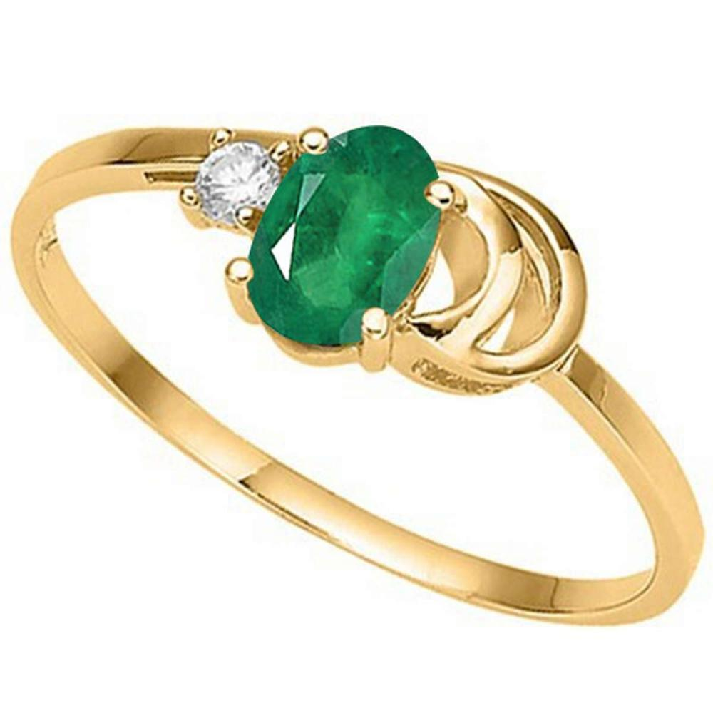 0.39 CT EMERALD AND ACCENT DIAMOND 0.01 CT 10KT SOLID YELLOW GOLD RING #IRS94077