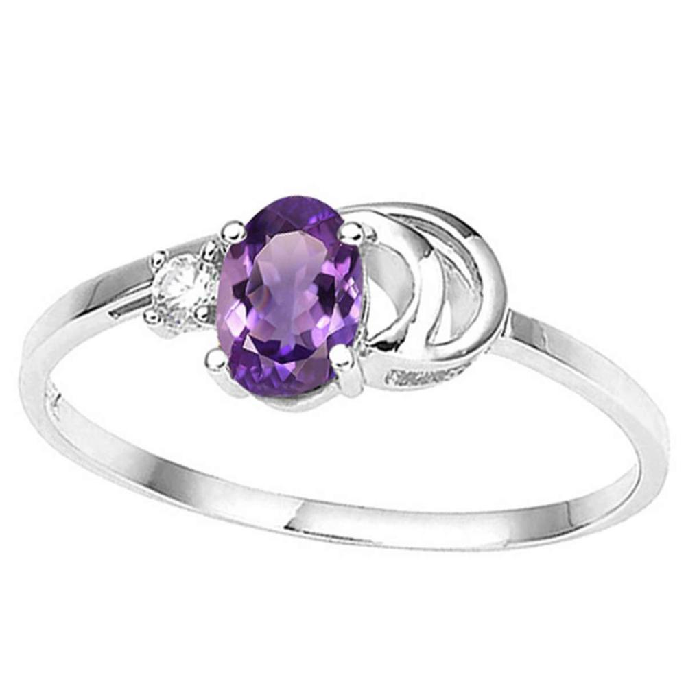 0.4 CT AMETHYST AND ACCENT DIAMOND 0.01 CT 10KT SOLID WHITE GOLD RING #IRS94069