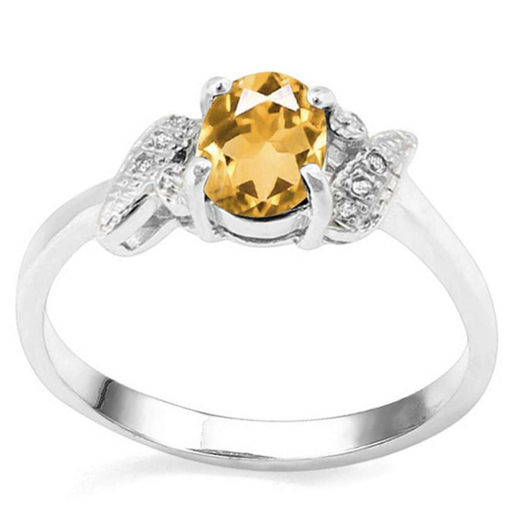0.59 CT CITRINE AND ACCENT DIAMOND 0.03 CT 10KT SOLID WHITE GOLD RING #IRS93998