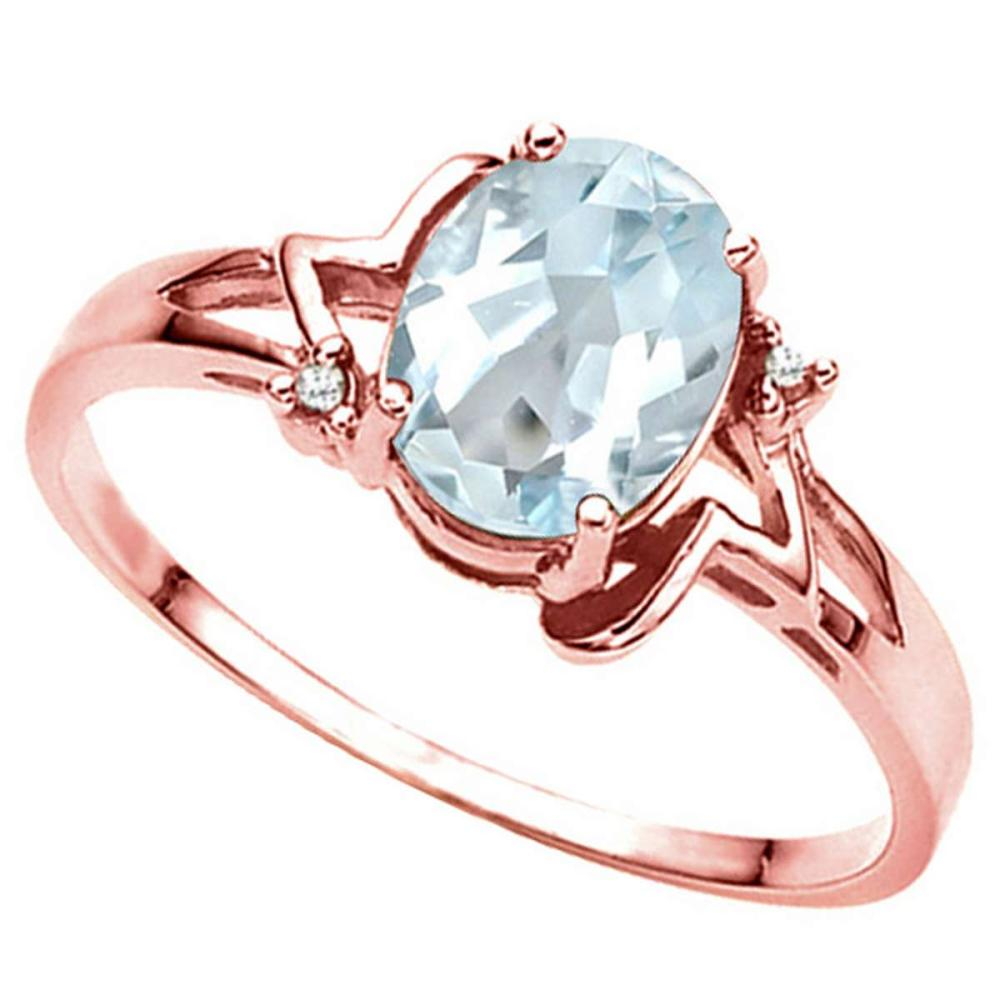0.73 CT AQUAMARINE AND ACCENT DIAMOND 0.01 CT 10KT SOLID RED GOLD RING #IRS93987