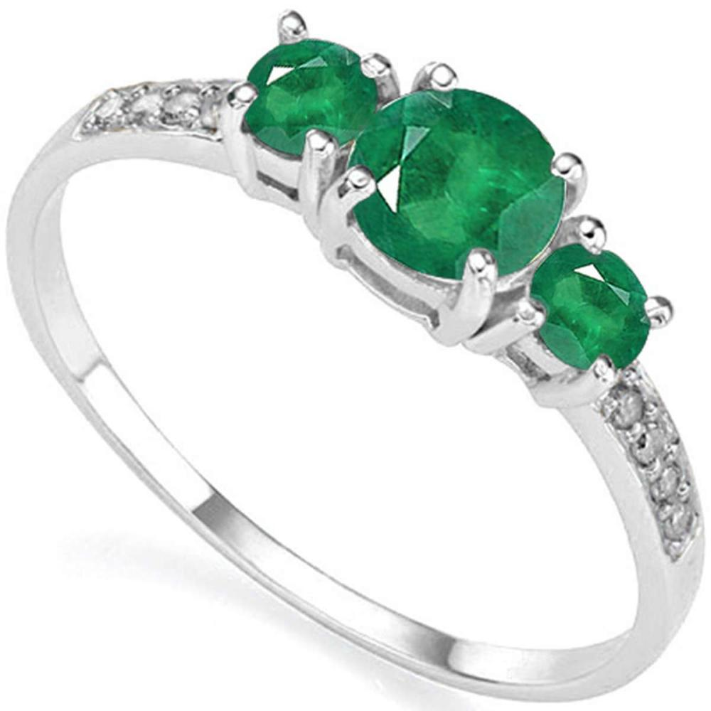 0.73 CT EMERALD AND ACCENT DIAMOND 0.04 CT 10KT SOLID WHITE GOLD RING #IRS94029