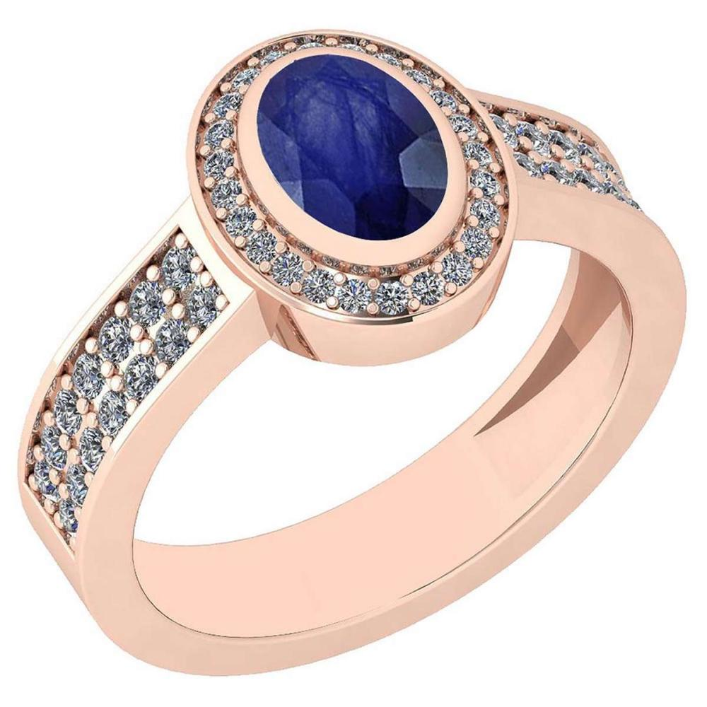 Certified 1.02 Ctw Blue Sapphire And Diamond VS/SI1 14K Rose Gold Ring #IRS25197