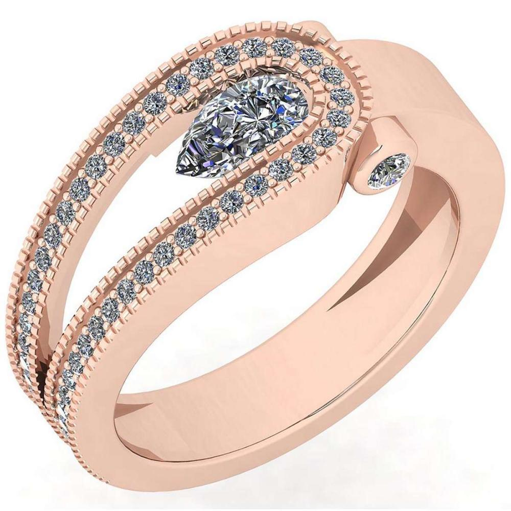 Certified 0.79 Ctw Diamond I1/I2 14K Rose Gold Halo Ring #IRS26580