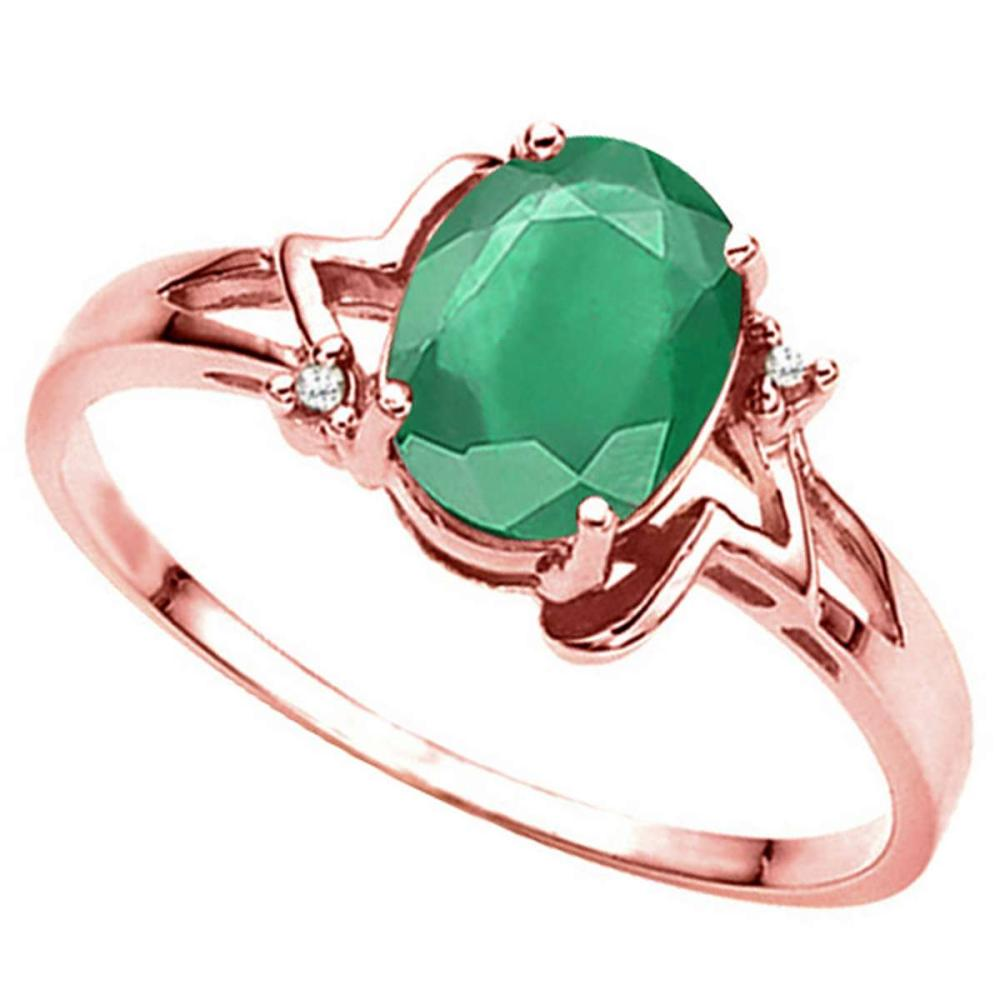 1.10 CT EMERALD AND ACCENT DIAMOND 0.01 CT 10KT SOLID RED GOLD RING #IRS93981