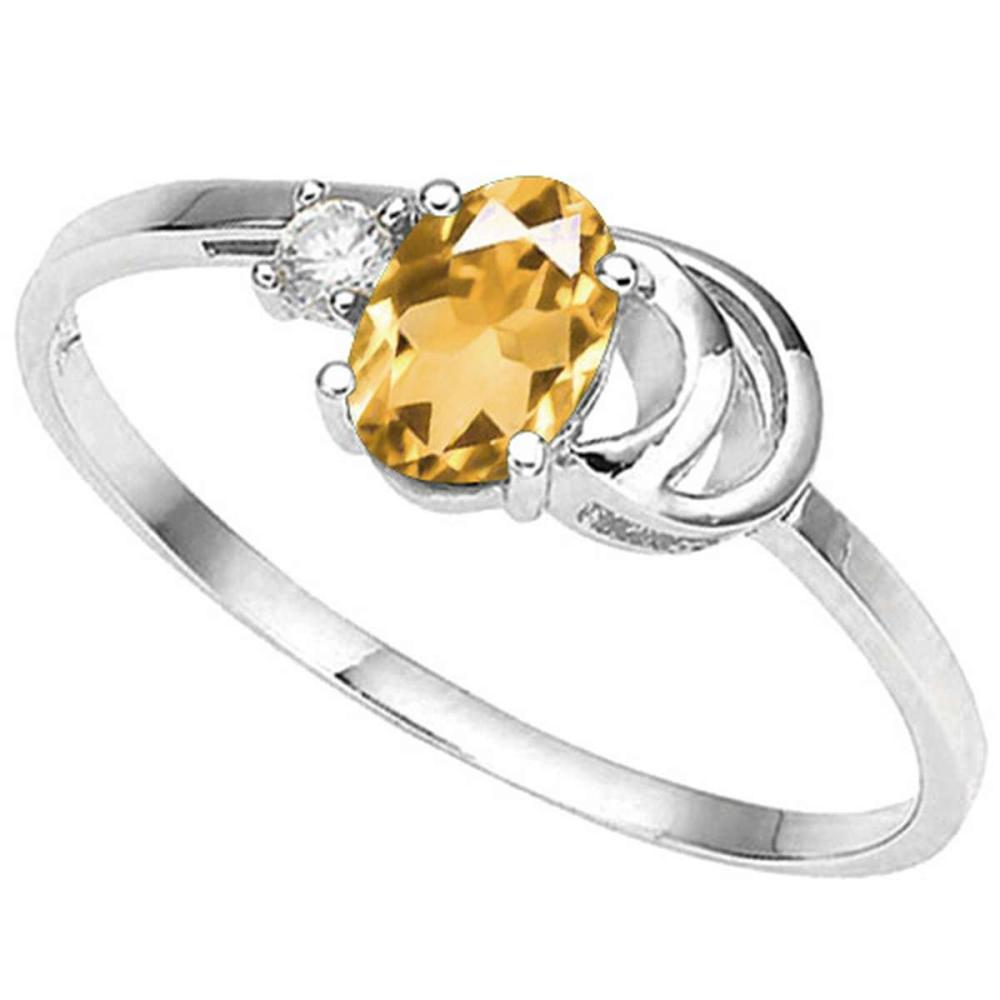 0.84 CT DARK CITRINE AND ACCENT DIAMOND 0.01 CT 10KT SOLID WHITE GOLD RING #IRS94071