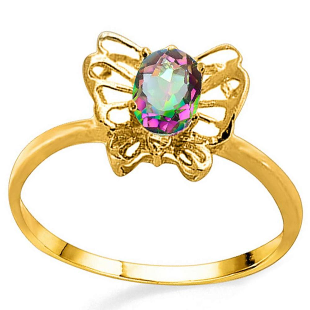 0.39 CT RAINBOW MYSTIC QUARTZ AND ACCENT DIAMOND 0.005 CT 10KT SOLID YELLOW GOLD RING #IRS94115