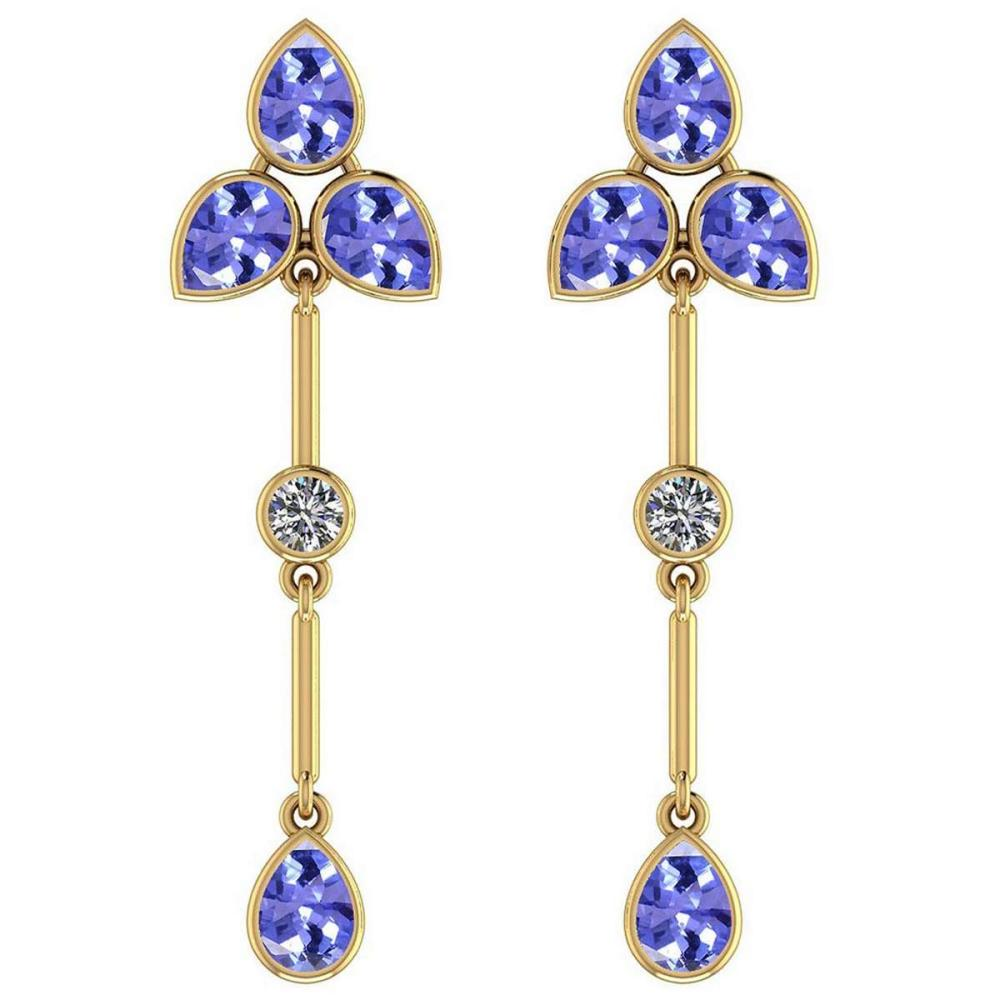 Certified 3.00 Ctw Tanzanite And Diamond VS/SI1 18K Yellow Gold Dangling Earrings #IRS27246