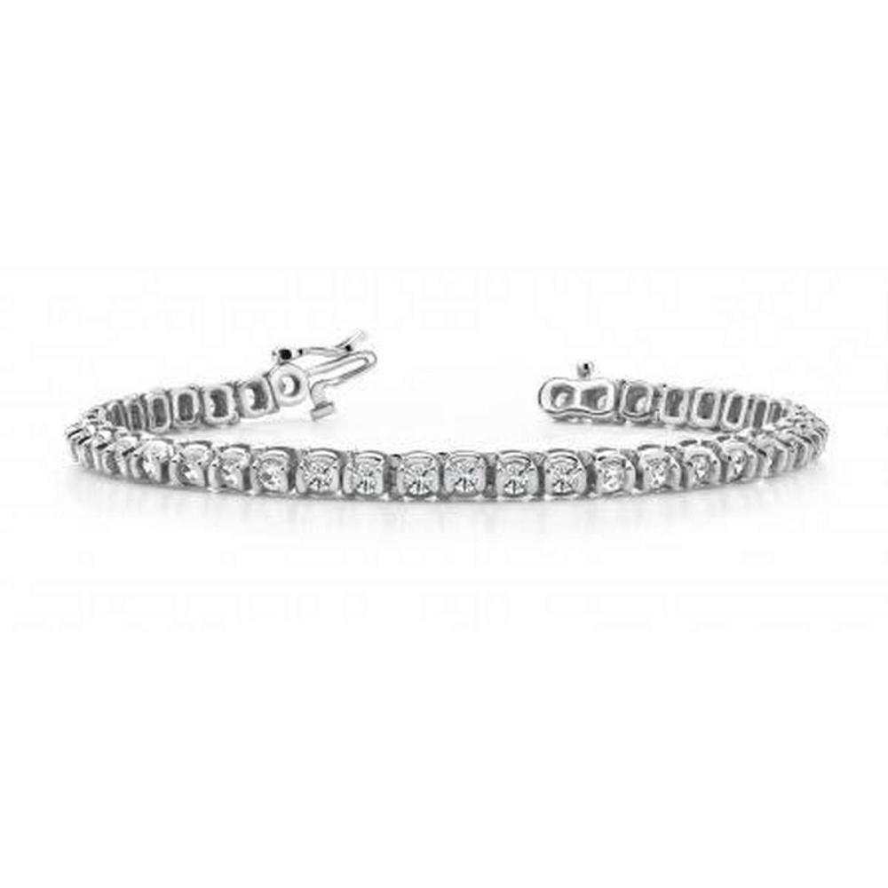 14K WHITE GOLD 2.50 CTW G-H VS2/SI1 HALF BEZEL CIRCLE LINK DIAMOND TENNIS BRACELET #IRS19975