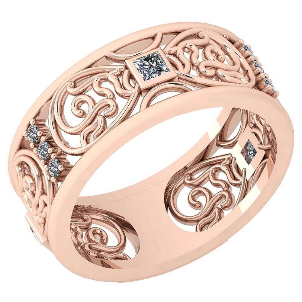 Certified 0.15 Ctw Diamond VS/SI1 14K Rose Gold Band #IRS24688