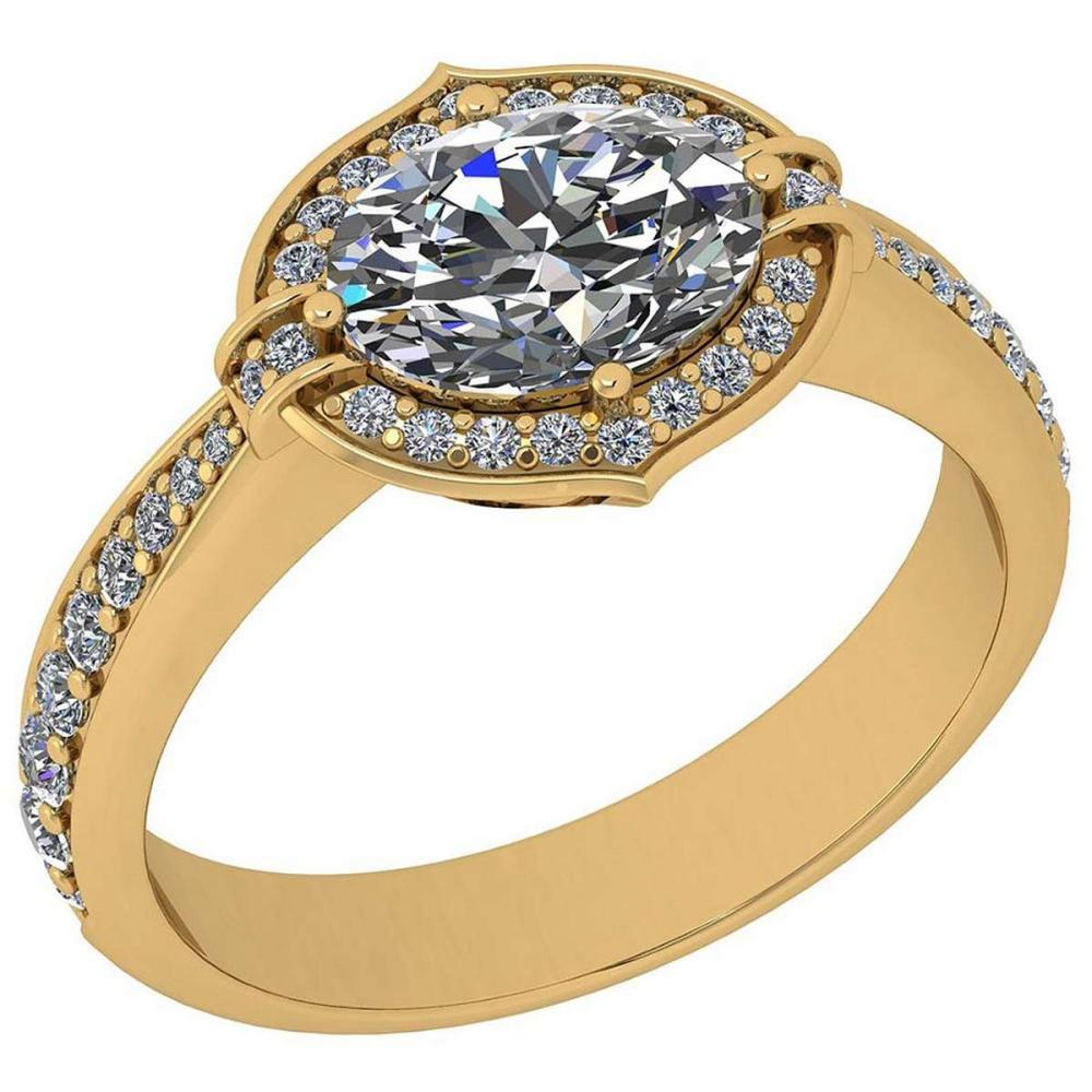 Certified 1.54 Ctw Diamond I1/I2 14K Yellow Gold Halo Ring #IRS26570