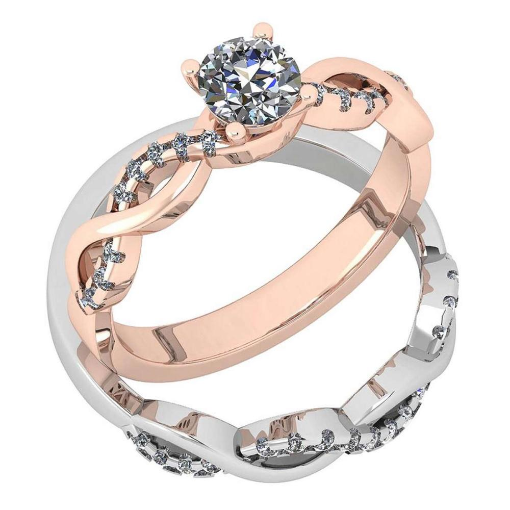 Certified 0.77 Ctw Diamond SI2/I1 2 Tone 2 Pcs Engagement 14K Rose And White Gold Ring #IRS28456