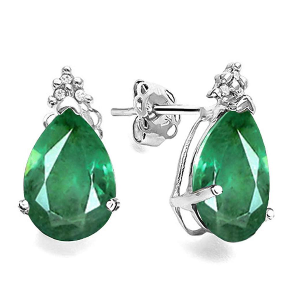 1.03 CT EMERALD AND ACCENT DIAMOND 10KT SOLID WHITE GOLD EARRING #IRS94137