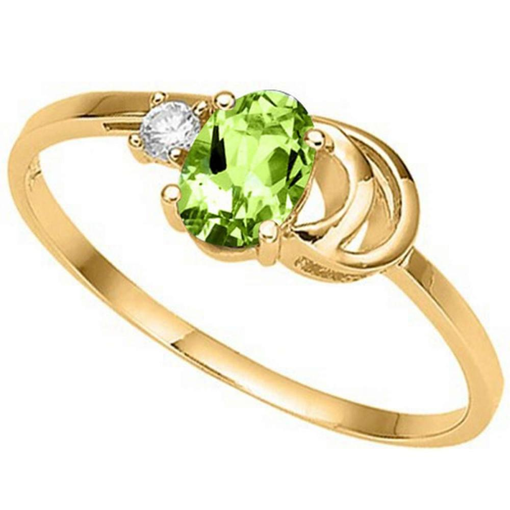 0.55 CT PERIDOT AND ACCENT DIAMOND 0.01 CT 10KT SOLID YELLOW GOLD RING #IRS94084
