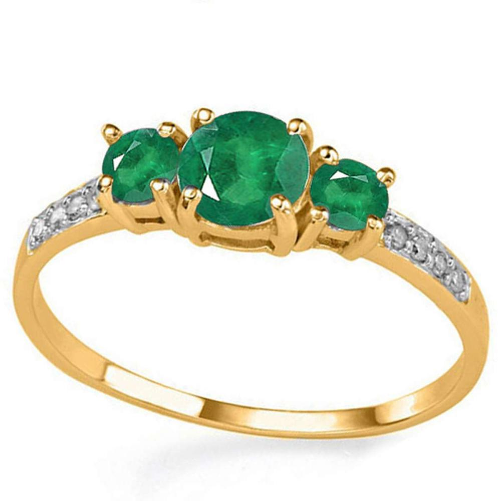 0.73 CT EMERALD AND ACCENT DIAMOND 0.04 CT 10KT SOLID YELLOW GOLD RING #IRS94041