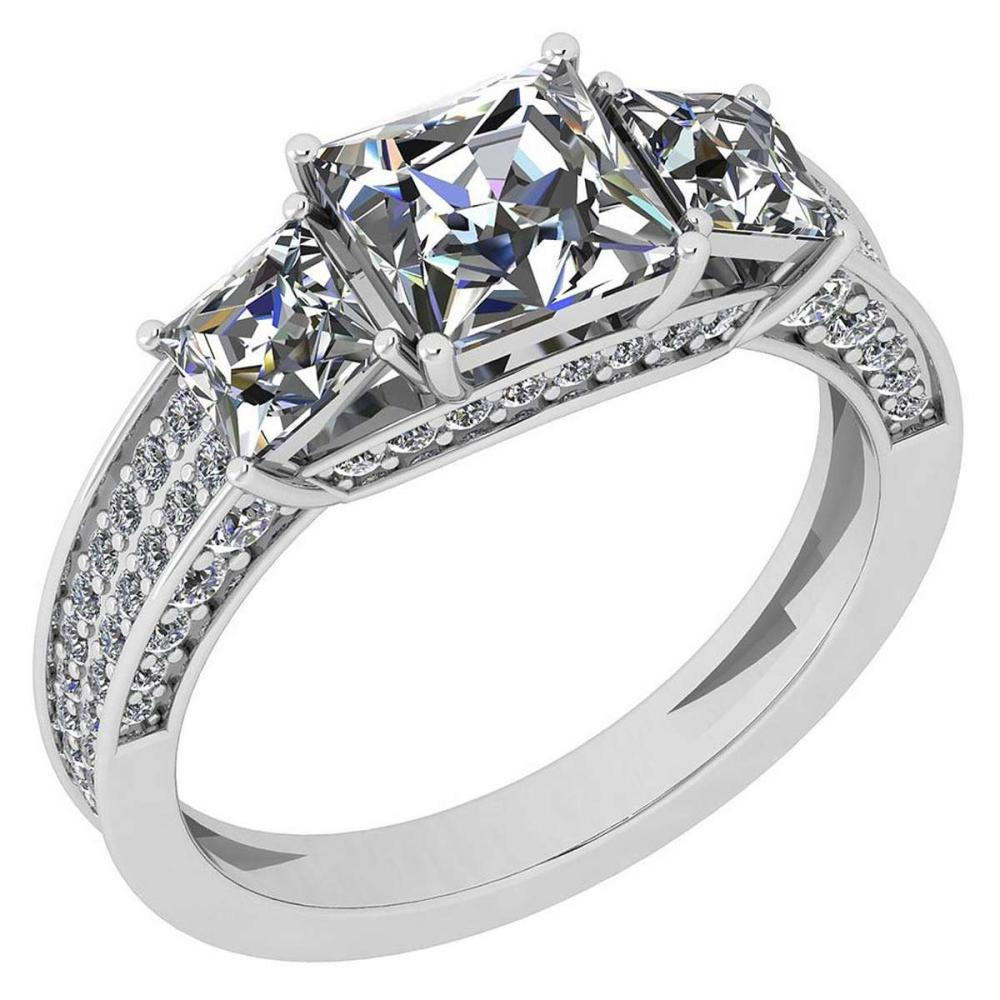 Certified 2.65 Ctw Diamond VS/SI1 14K White Gold Halo Ring #IRS26575