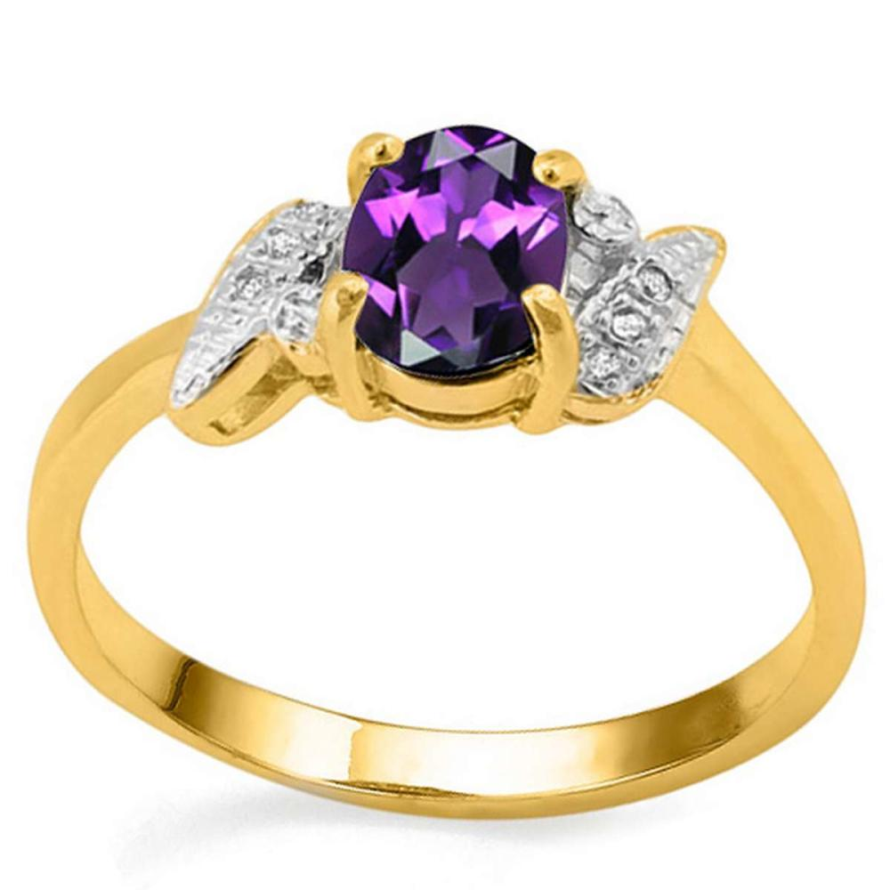 0.71 CT AMETHYST AND ACCENT DIAMOND 0.03 CT 10KT SOLID YELLOW GOLD RING #IRS94008