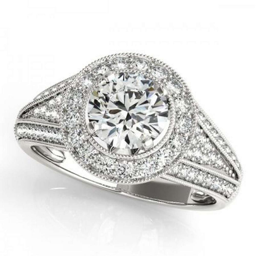 CERTIFIED PLATINUM 1.09 CTW G-H/VS-SI1 DIAMOND HALO ENGAGEMENT RING #IRS86209