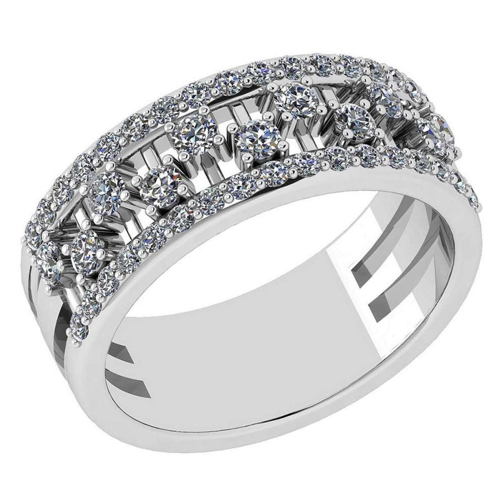 Certified 0.69 Ctw Diamond VS/SI1 14K White Gold Band #IRS24681
