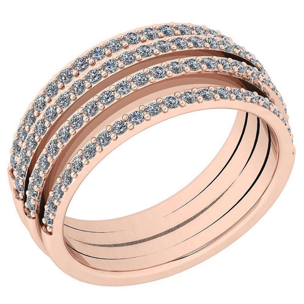 Certified 0.70 Ctw Diamond VS2/SI1 Engagement 18K Rose Gold Band Ring #IRS28558