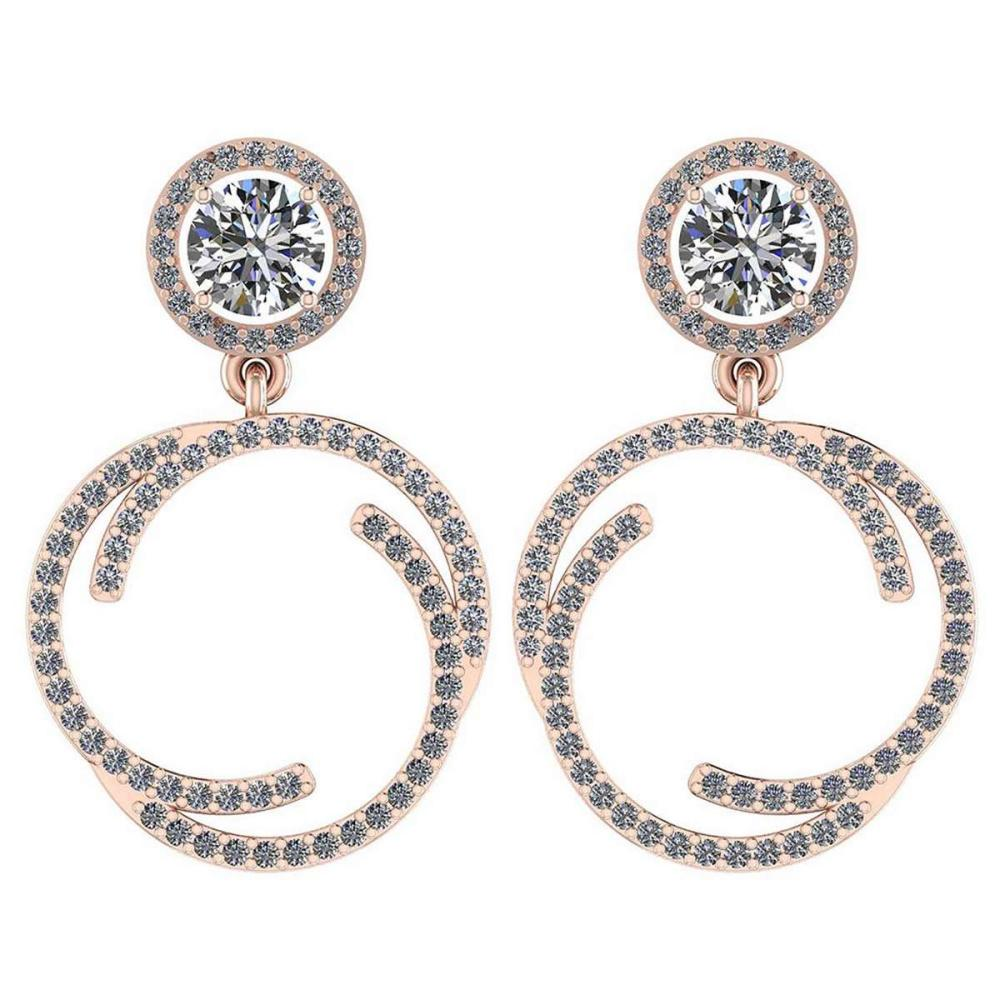 Certified 1.69 Ctw Diamond SI2/I1 18K Rose Gold Dangling Earrings #IRS26425