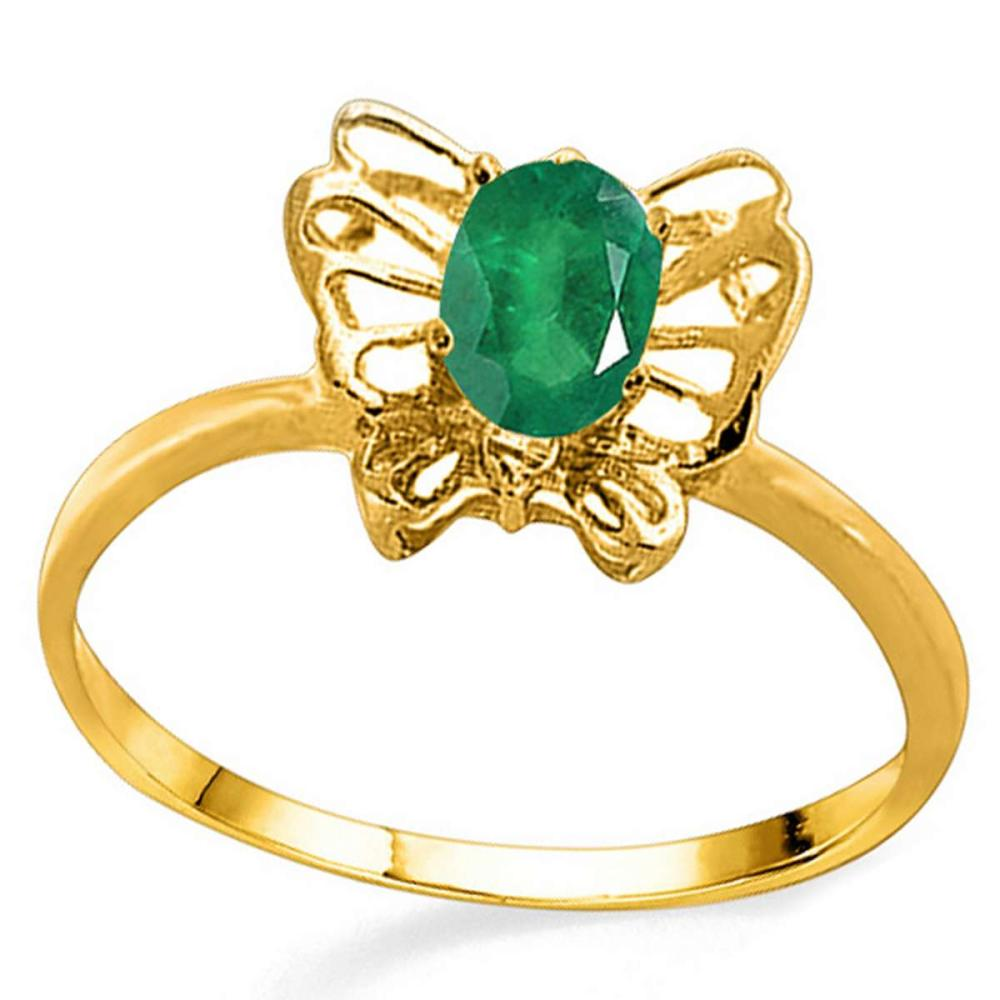 0.46 CT EMERALD AND ACCENT DIAMOND 0.005 CT 10KT SOLID YELLOW GOLD RING #IRS94113