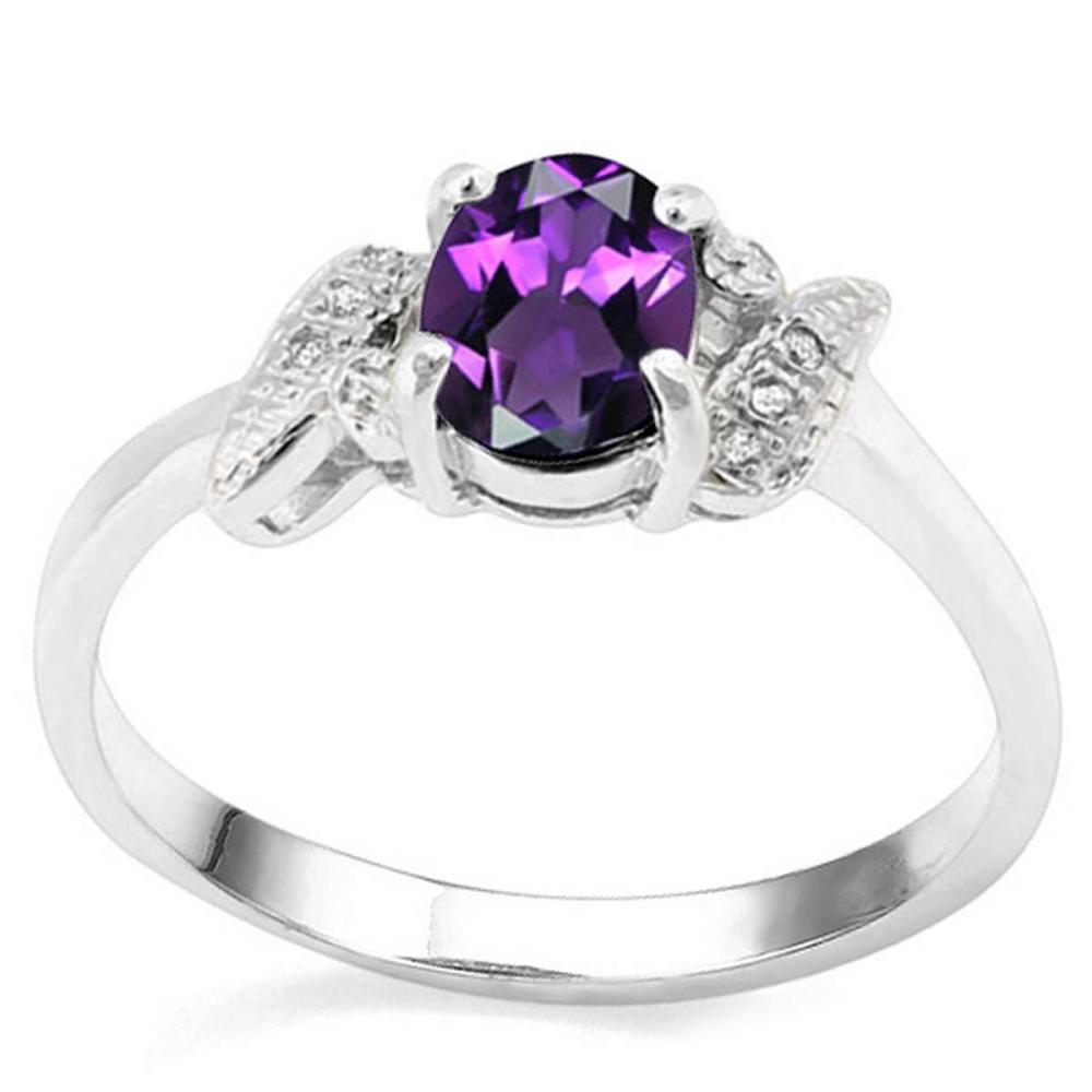 0.71 CT AMETHYST AND ACCENT DIAMOND 0.03 CT 10KT SOLID WHITE GOLD RING #IRS93996