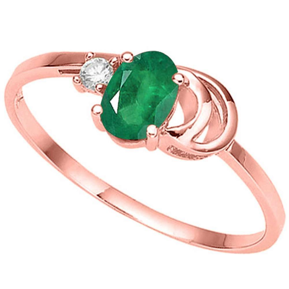 0.39 CT EMERALD AND ACCENT DIAMOND 0.01 CT 10KT SOLID RED GOLD RING #IRS94089