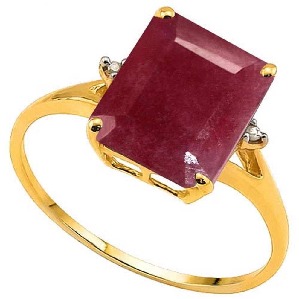 3.6 CTW GENUINE RUBY & GENUINE DIAMOND (2 PCS) 10KT SOLID YELLOW GOLD RING #IRS50961