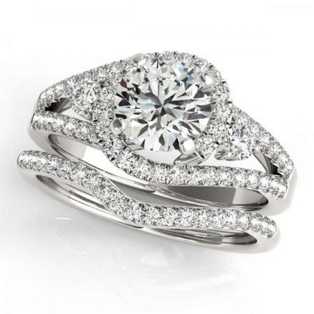 CERTIFIED 18KT WHITE GOLD 1.38 CTW G-H/VS-SI1 DIAMOND BRIDAL SET  #IRS86730