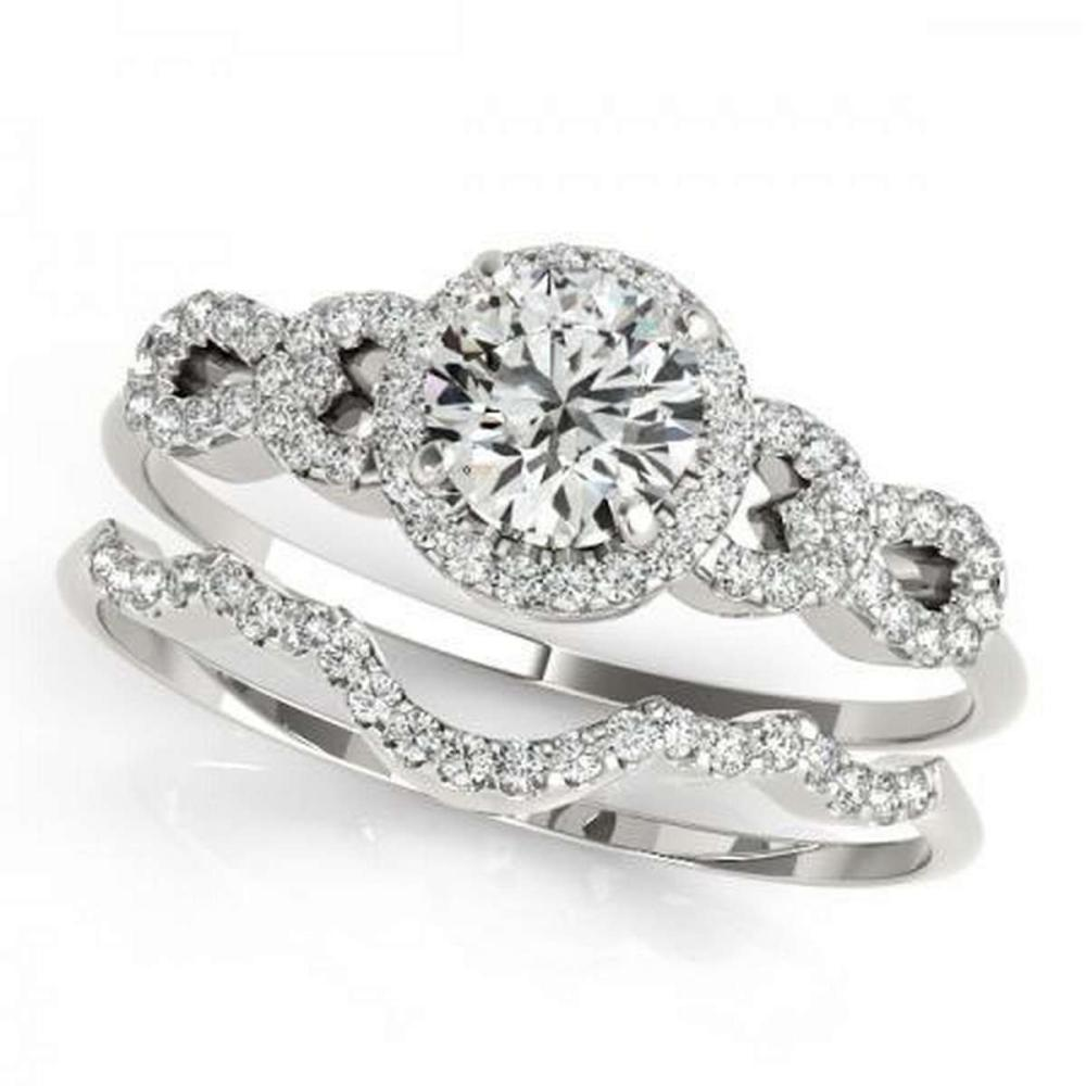 CERTIFIED 18KT WHITE GOLD 1.00 CTW G-H/VS-SI1 DIAMOND BRIDAL SET #IRS86771