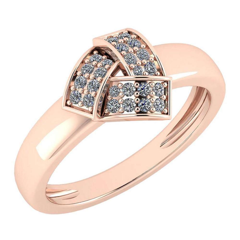 Certified 0.18 Ctw Diamond VS/SI1 Engagement 18K Rose Gold Ring #IRS25608