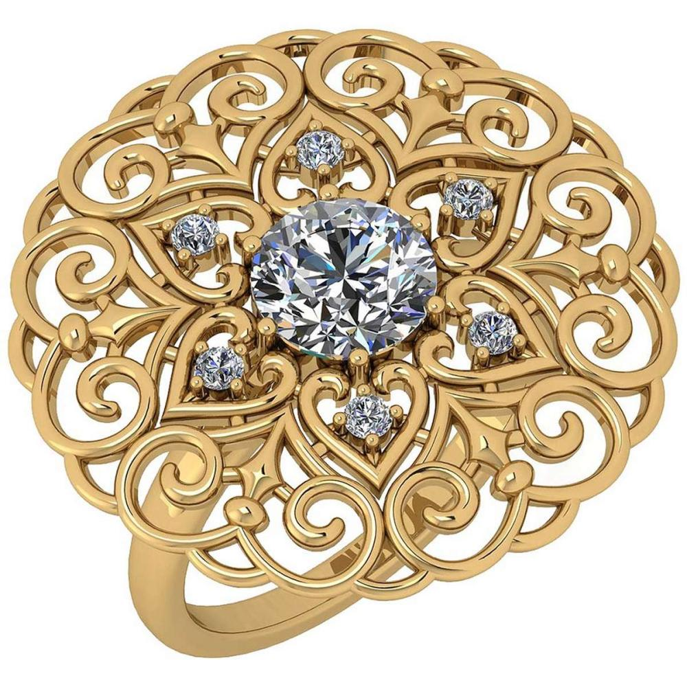 Certified 1.40 Ctw Diamond SI2/I1 Filigree Style 18K Yellow Gold Halo Ring #IRS25619