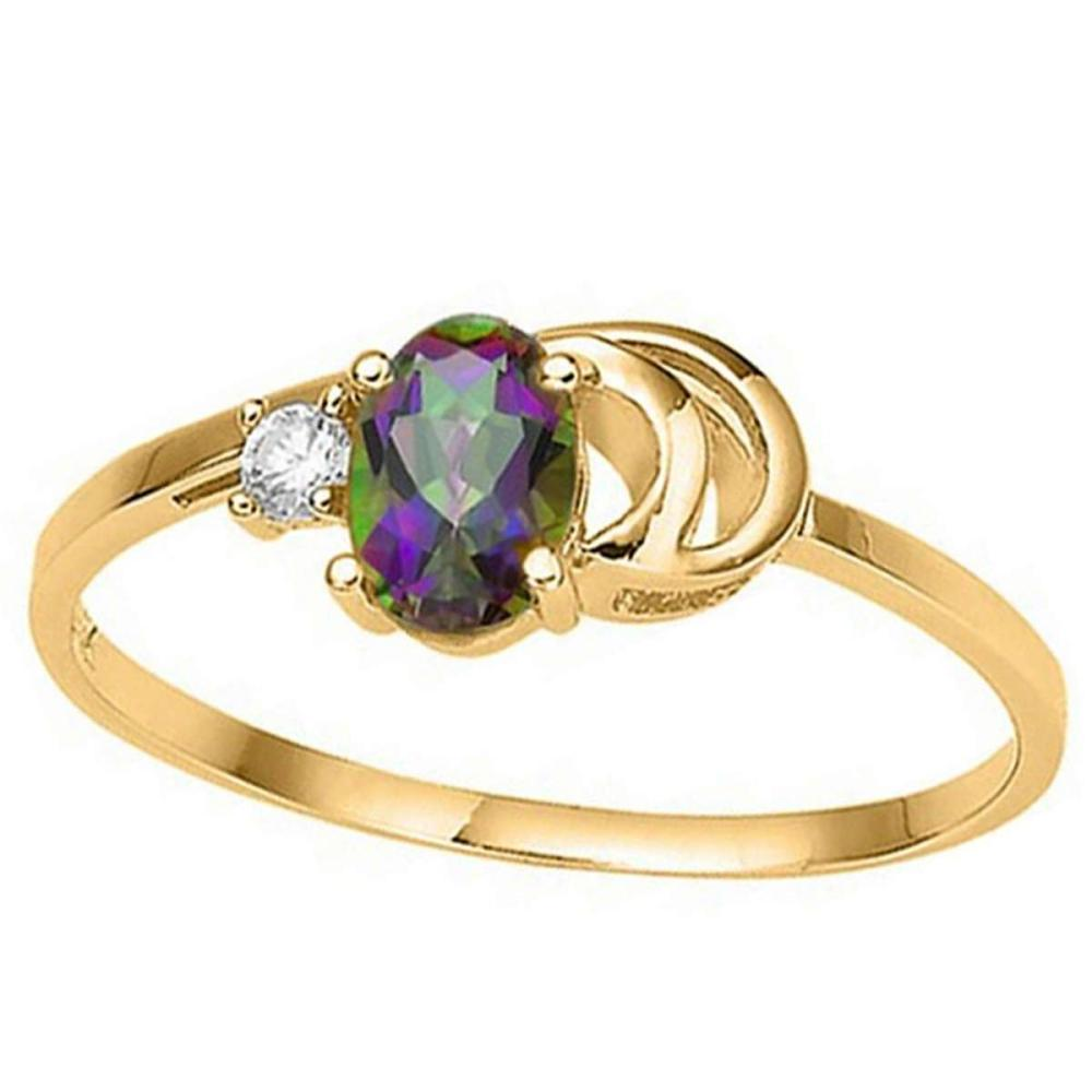 0.39 CT RAINBOW MYSTIC QUARTZ AND ACCENT DIAMOND 0.01 CT 10KT SOLID YELLOW GOLD RING #IRS94079