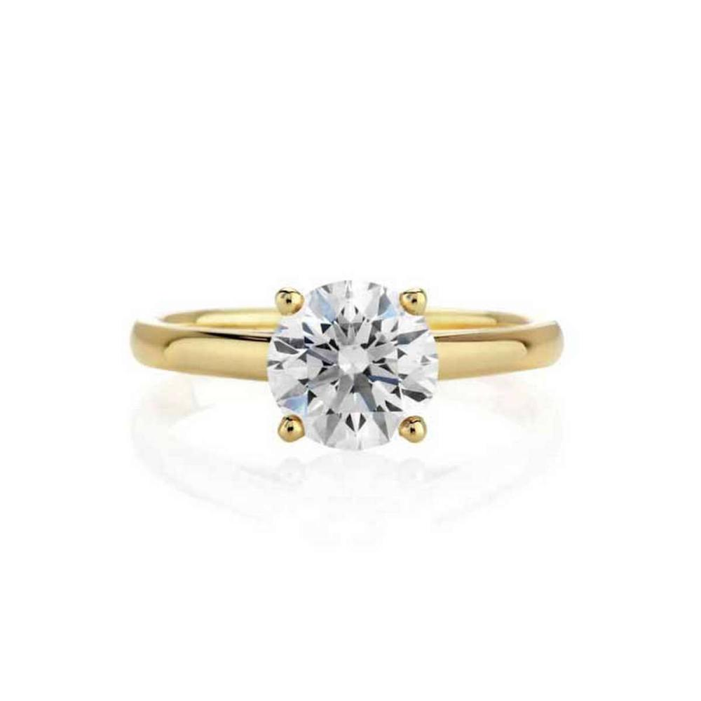 CERTIFIED 0.9 CTW D/SI2 ROUND DIAMOND SOLITAIRE RING IN 14K YELLOW GOLD #IRS24734