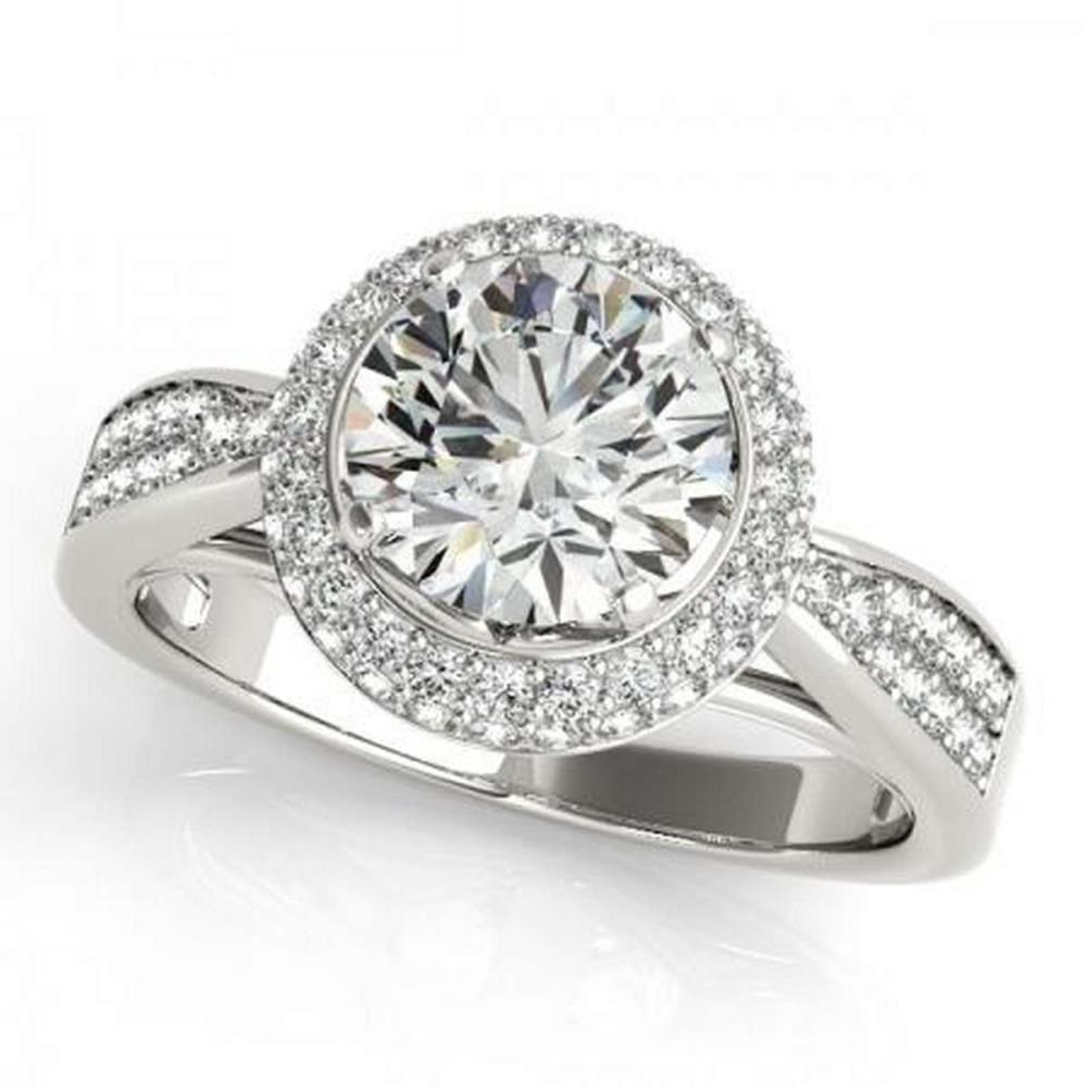 CERTIFIED PLATINUM 0.86 CTW G-H/VS-SI1 DIAMOND HALO ENGAGEMENT RING #IRS86185