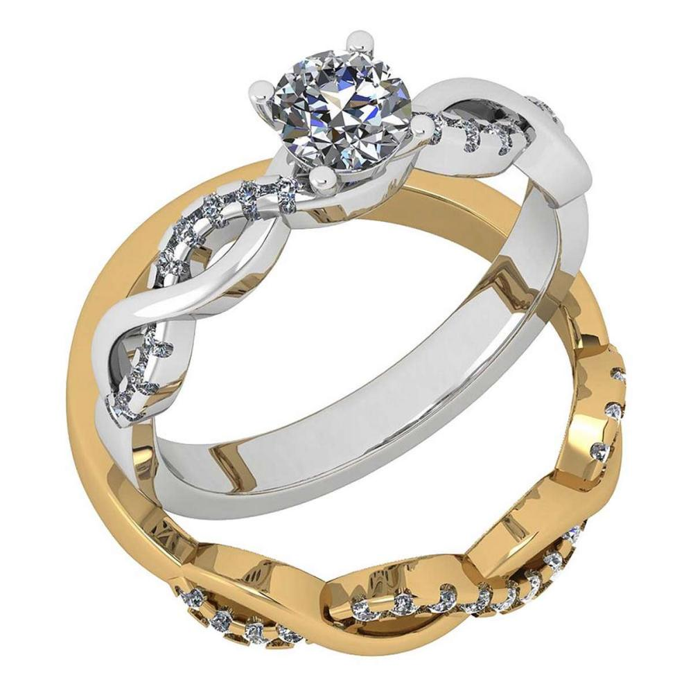 Certified 0.77 Ctw Diamond I1/I2 2 Tone 2 Pcs Engagement 14K White And Yellow Gold Ring #IRS28455