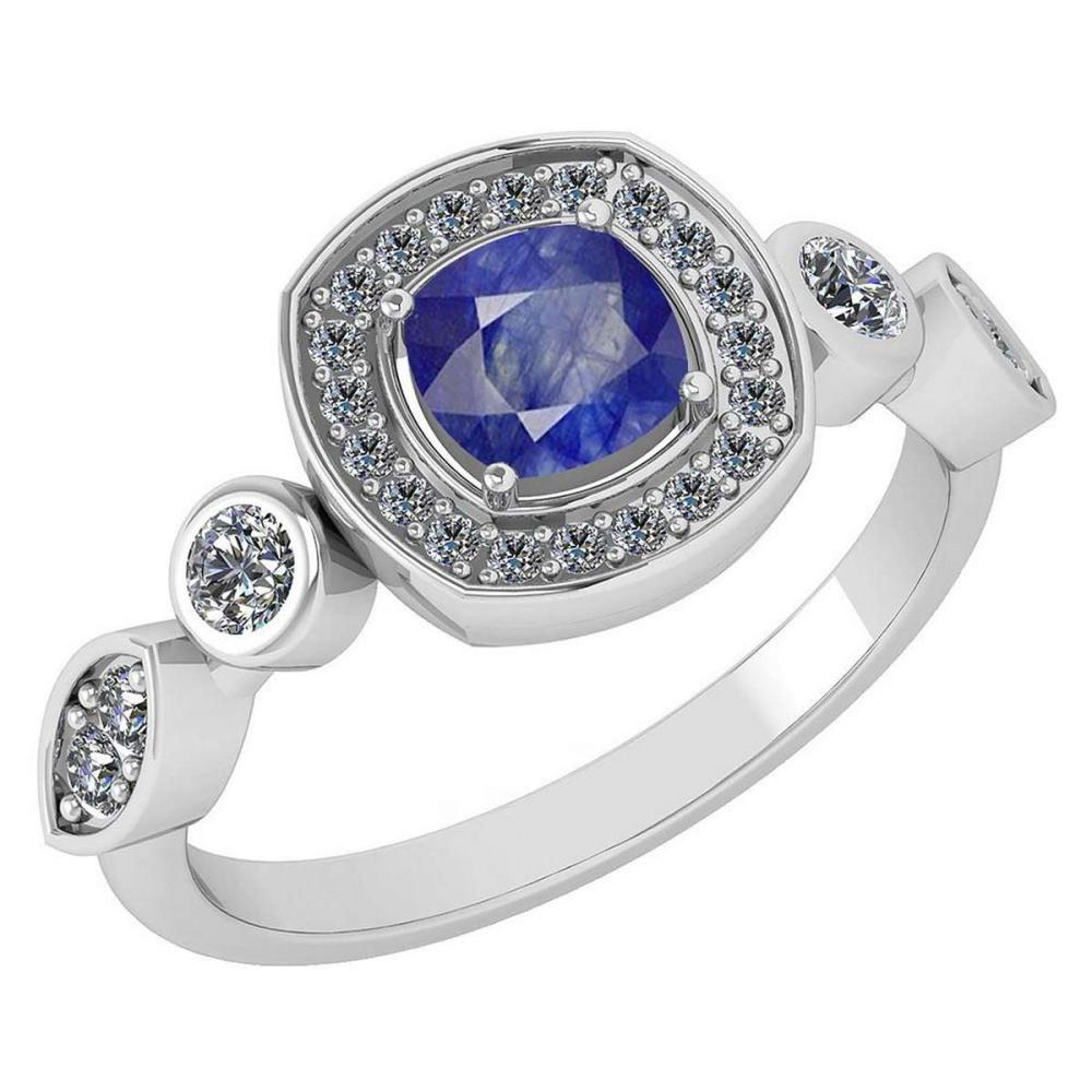 Certified 1.10 Ctw Blue Sapphire And Diamond VS/SI1 14K White Gold Ring #IRS25210