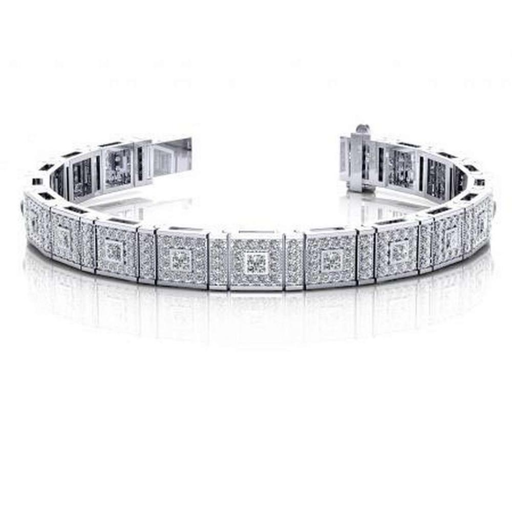 14KT WHITE GOLD 5 CTW G-H SI2/SI3 BEZEL SET PRINCESS DIAMOND BRACELET #IRS20276