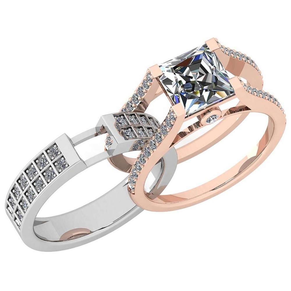 Certified 2.61 Ctw Diamond I1/I2 2 Tone 2 Pcs Engagement 14K White And Rose Gold Ring #IRS28451