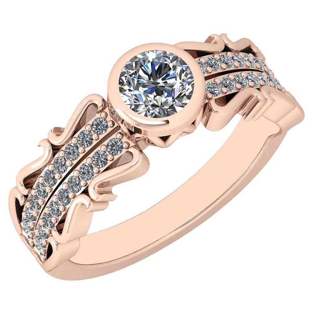 Certified 0.82 Ctw Diamond VS/SI1 18K Rose Gold Halo Ring #IRS25599