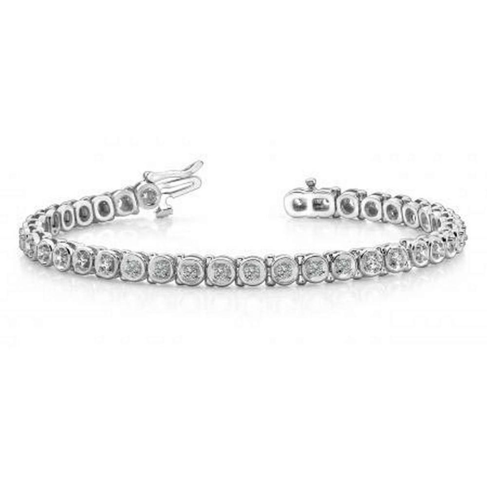 14K WHITE GOLD 1 CTW G-H VS2/SI1 CIRCLE LINK DIAMOND TENNIS BRACELET #IRS19939