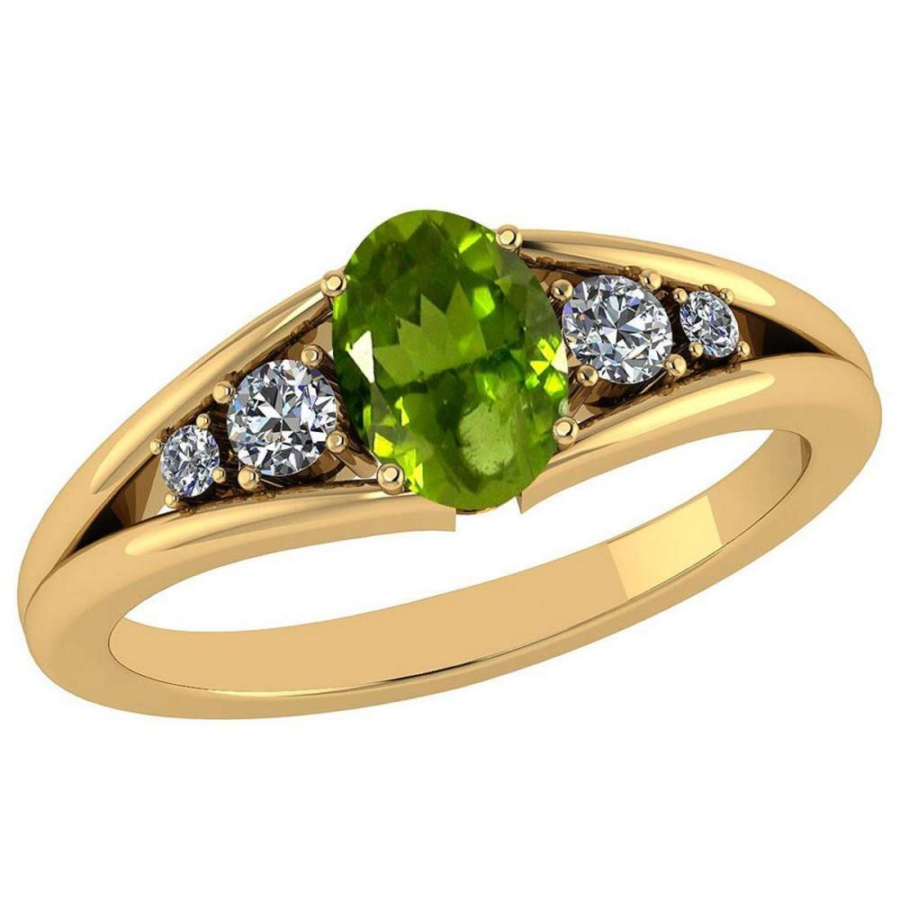 Certified 0.93 Ctw Peridot And Diamond VS/SI1 14K Yellow Gold Ring Size 4.5 to 9 Is Available #IRS26798