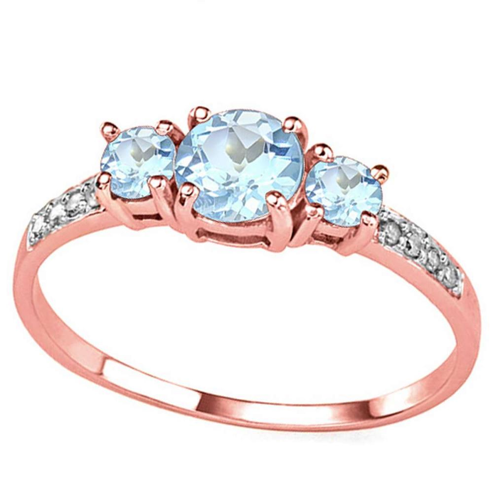 0.84 CT SKY BLUE TOPAZ AND ACCENT DIAMOND 0.04 CT 10KT SOLID RED GOLD RING #IRS94060
