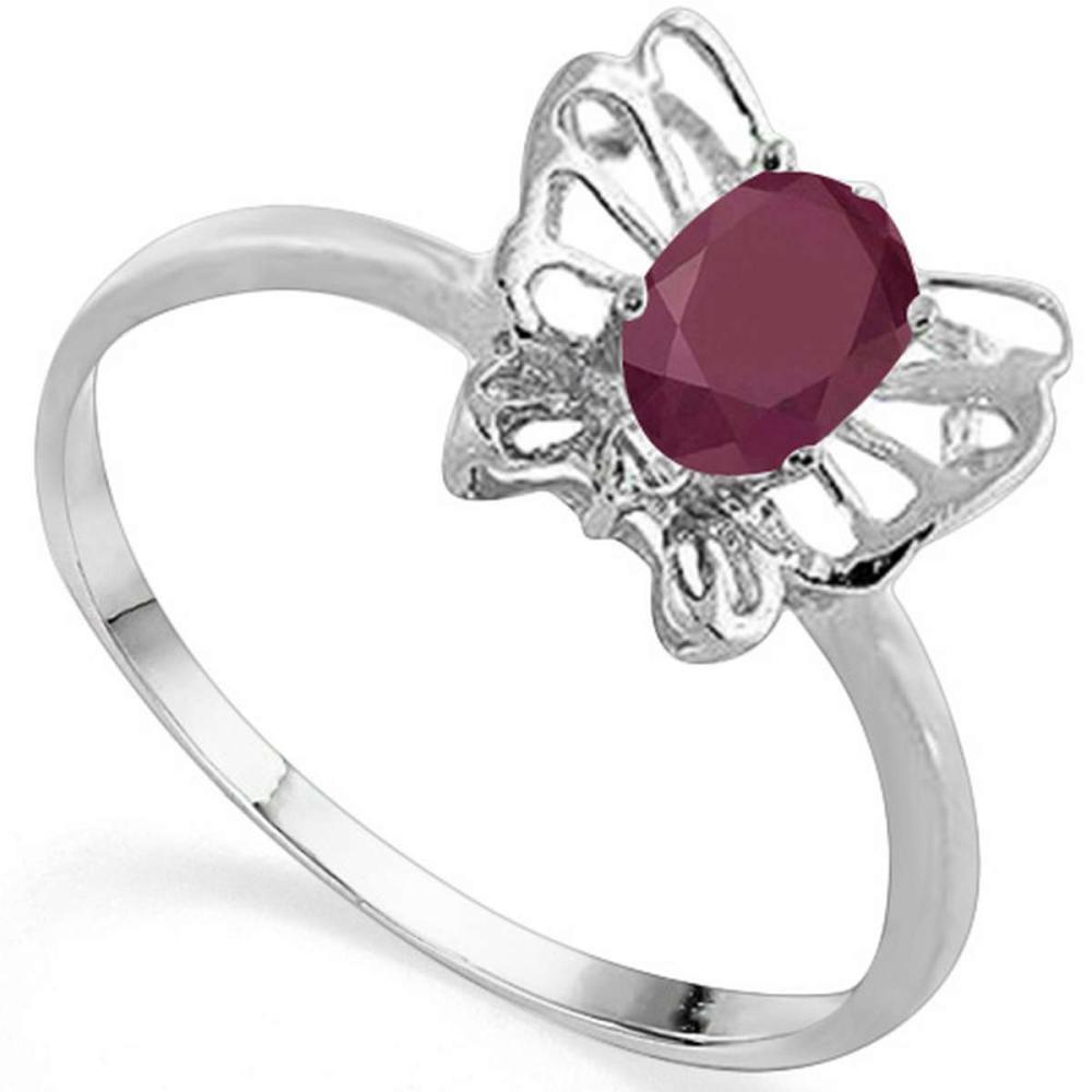 0.57 CT RUBY AND ACCENT DIAMOND 0.005 CT 10KT SOLID WHITE GOLD RING #IRS94099