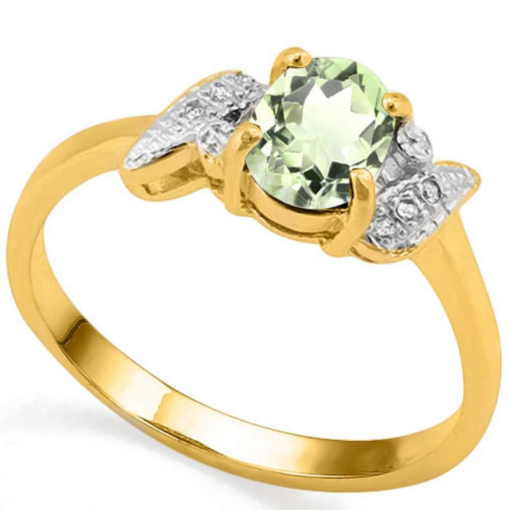 0.68 CT GREEN AMETHYST AND ACCENT DIAMOND 0.03 CT 10KT SOLID YELLOW GOLD RING #IRS94009