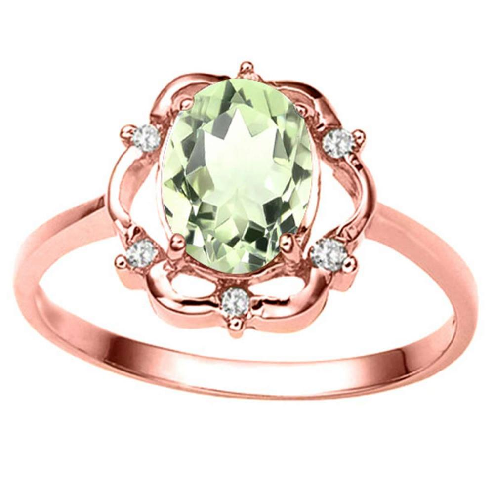 1.01 CT GREEN AMETHYST AND ACCENT DIAMOND 0.02 CT 10KT SOLID RED GOLD RING #IRS93888