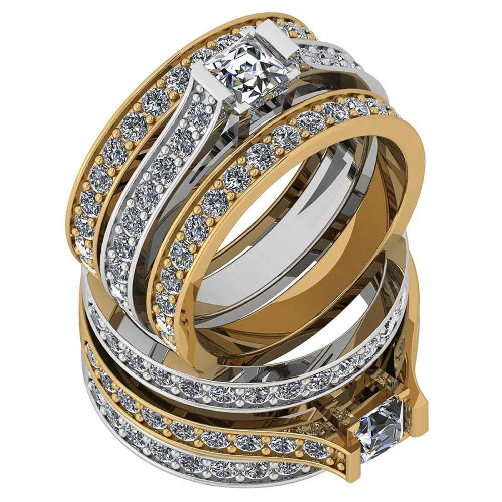 Certified 1.79 Ctw Diamond VS2/SI1 Two-Tone Engagement 18K White And Yellow Gold Ring #IRS28568